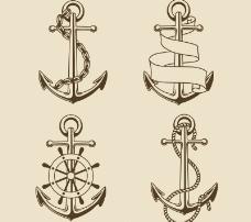 4款复古手绘船锚矢量素材