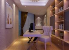 小型书房,书房设计,书柜模型