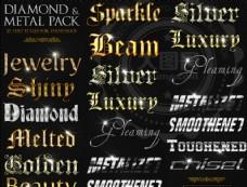超酷的钻石图案金属字样式V1