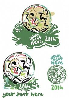 手绘巴西世界杯足球