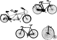 矢量自行车剪影素材