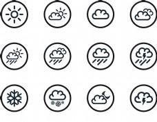 天气预报图标矢量模板