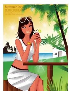 时尚女性 浪漫夏日 沙滩泳装 矢量人物 AI_79