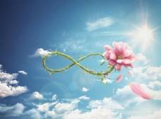 蓝色天空清新花朵背景图