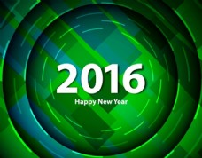 绿色背景下的2016新年快乐