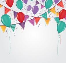彩色三角拉旗和气球背景矢量图图片