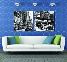 黑白城市壁画