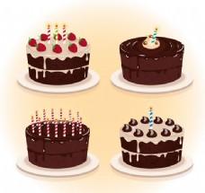 4款美味巧克力蛋糕矢量素材下载