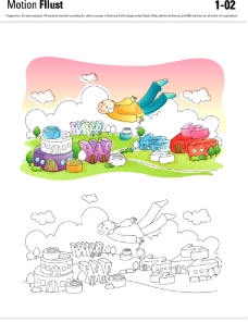 抽象建筑景观插画图片