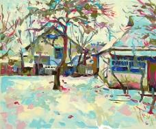 冬天雪地房屋风景油画