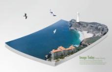 翱翔的飞鸟与海边的灯塔PSD分层素材