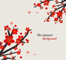 红色花朵树枝背景素材