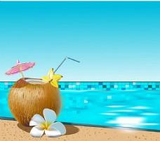 椰子果汁与游泳池