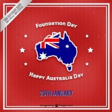 澳大利亚日的一个复古红色的背景