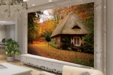 森林屋豪华田园背景墙效果图