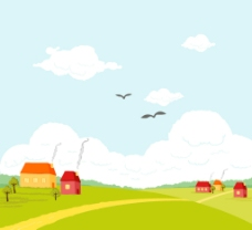 美丽卡通平原村庄风景图片