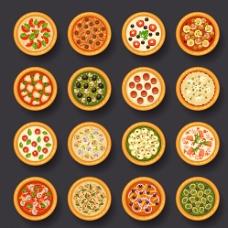 美味披萨俯视图矢量素材图片