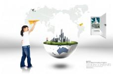 小女孩与地球创意设计PSD分层素材