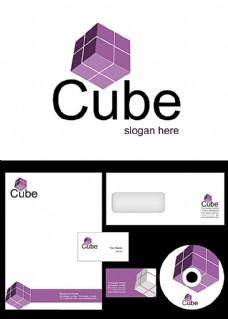 紫色立方体标志设计
