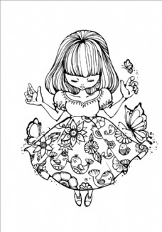黑白花纹女孩图片