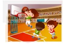 卡通人打篮球