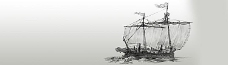 手绘海盗船 banner创意设计