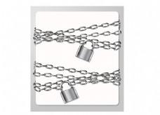 白色背景矢量金属链条和挂锁