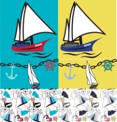 帆船 海洋 船锚 船舵 图案图片