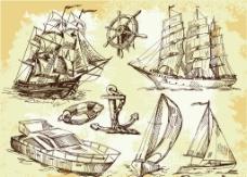 线稿船舶海洋神马图片
