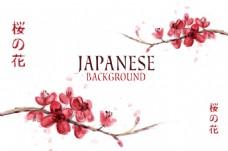可爱水彩樱花日本背景