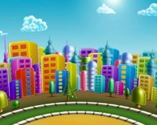 可爱卡通城市旋转动画视频素材