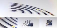 三维信号脉冲logo标志展示AE模板