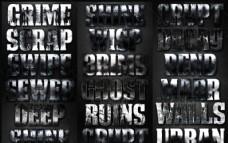 颓废风格电影主题字体设计PS样式V1
