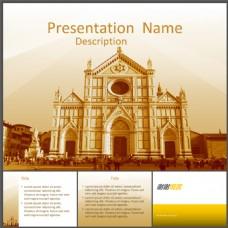 圣十字大教堂旅游圣地PPT模板下载