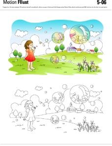 乡村儿童插画图片