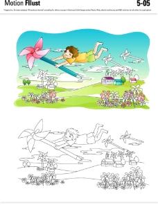 儿童乡村插画图片
