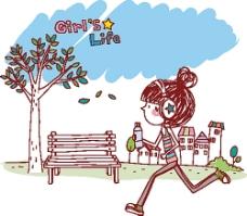 跑步健身的卡通女孩