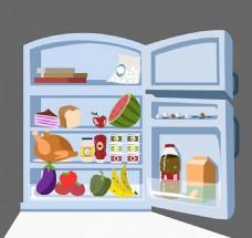 打开的冰箱矢量