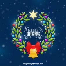 明亮的圣诞花环背景