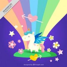 彩虹背景的小幸福独角兽
