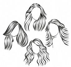 4款手绘女子发式矢量图