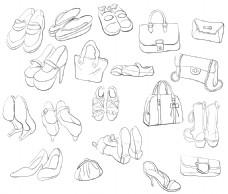 手绘矢量鞋包