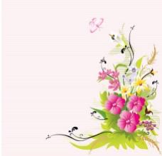 蝴蝶花儿矢量背景图
