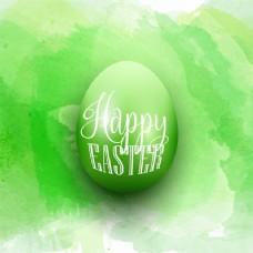 一个绿色水彩背景的复活节蛋