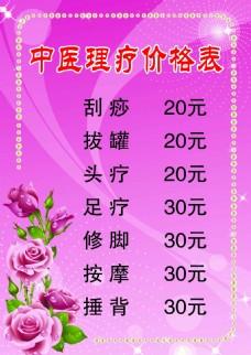 中医理疗价格表