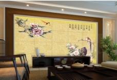 喜鹊中式背景墙
