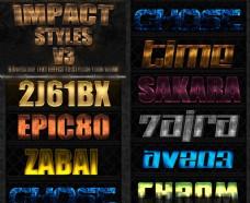 各种质感的金属颓废字体样式