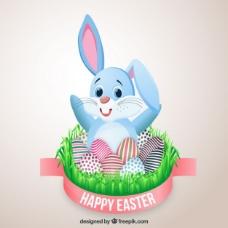 复活节卡片上可爱的兔子和装饰的鸡蛋