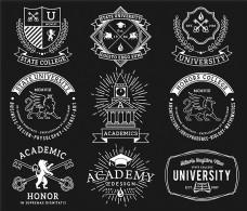大学徽标图标矢量