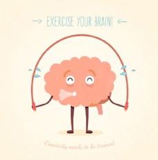 健身的大脑插画